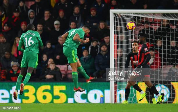Troy Deeney of Watford scores his team's first goal during the Premier League match between AFC Bournemouth and Watford FC at Vitality Stadium on...