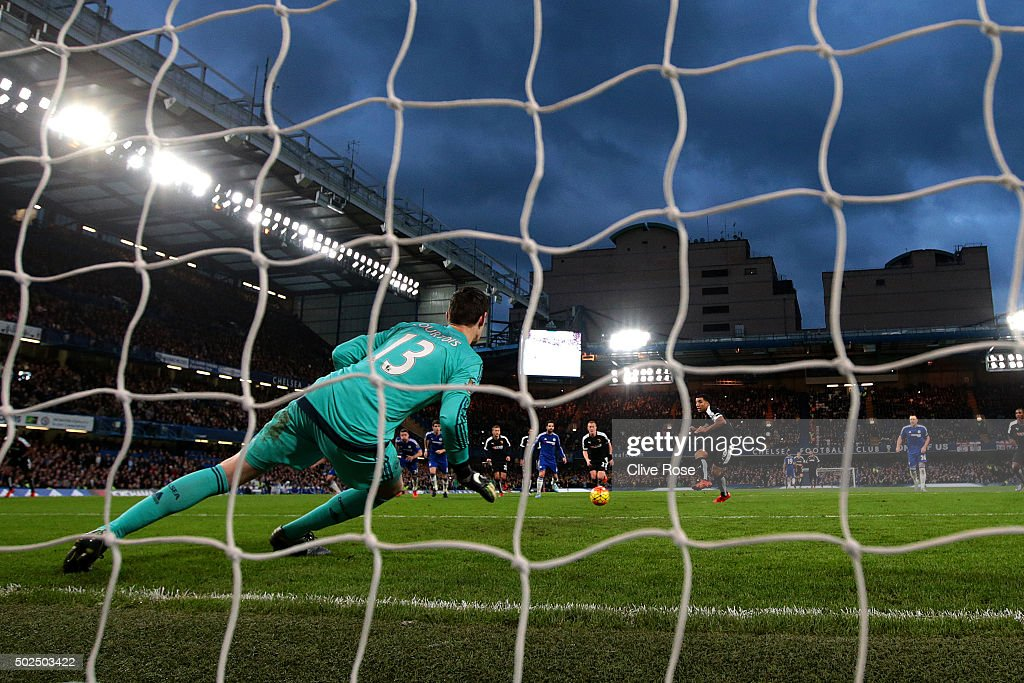 Troy Deeney of Watford scores his team's first goal from the penalty spot during the Barclays Premier League match between Chelsea and Watford at Stamford Bridge on December 26, 2015 in London, England.