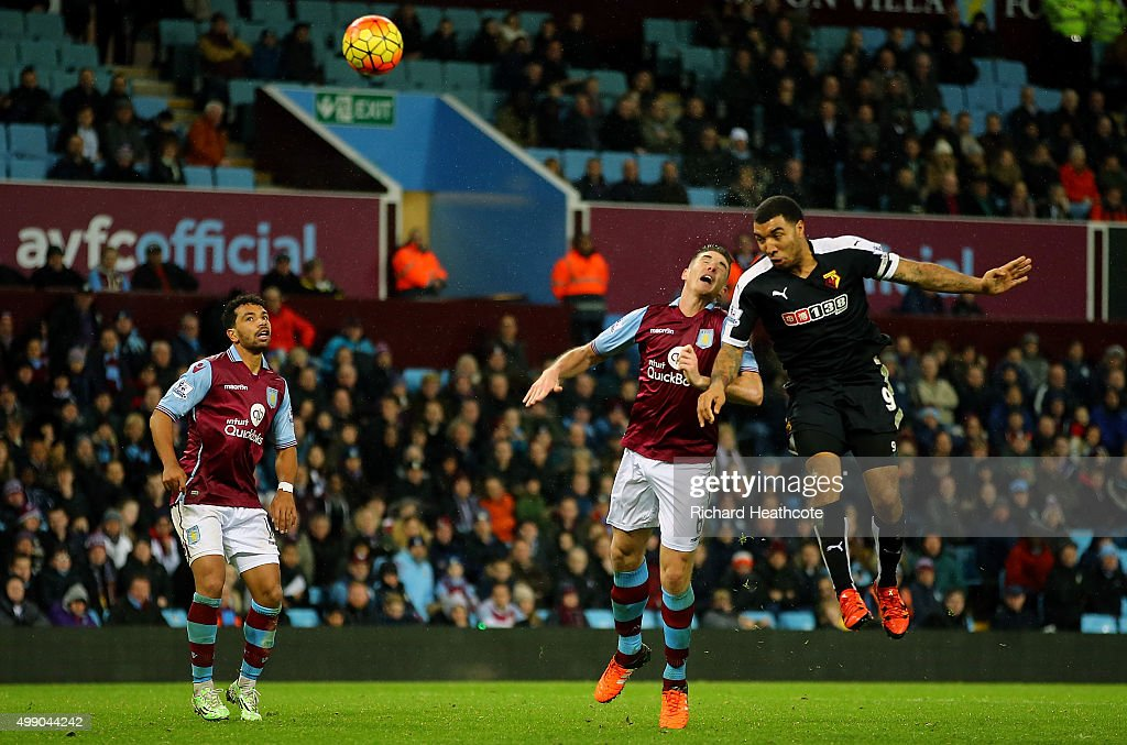 Troy Deeney of Watford scores his team's third goal during the Barclays Premier League match between Aston Villa and Watford at Villa Park on November 28, 2015 in Birmingham, England.