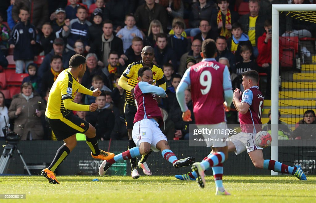 Troy Deeney of Watford scores his team's third goal during the Barclays Premier League match between Watford and Aston Villa at Vicarage Road on April 30, 2016 in Watford, England.