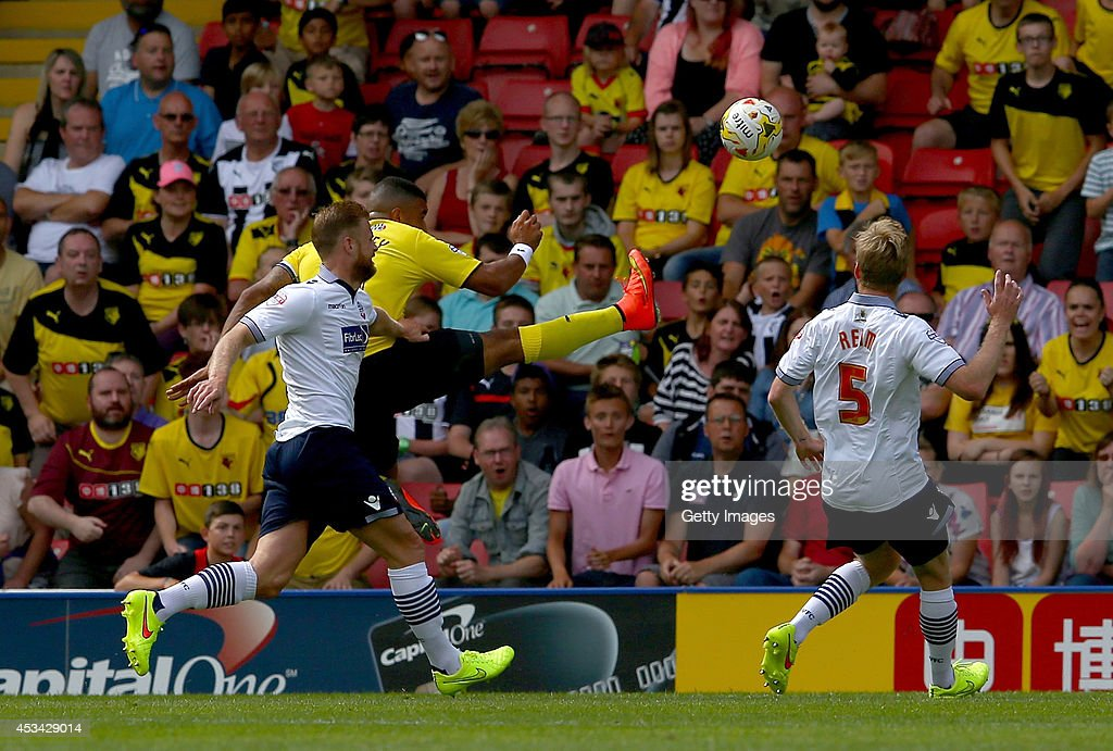 Troy Deeney of Watford scores the opening goal during the Sky Bet Championship match between Watford and Bolton Wanderers at Vicarage Road on August 9, 2014 in Watford, England.