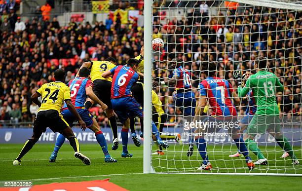Troy Deeney of Watford scores their first and equalising goal during The Emirates FA Cup semi final match between Watford and Crystal Palace at...