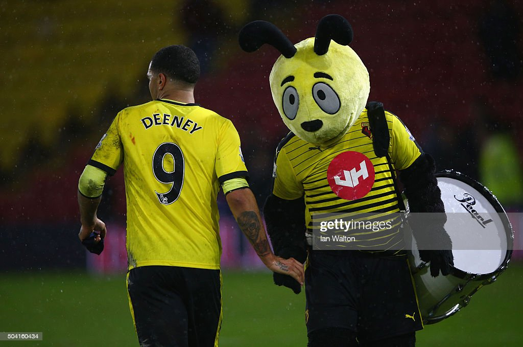 Troy Deeney of Watford shakes hands with Watford mascot Harry the Hornet after victory in the Emirates FA Cup Third Round match between Watford and Newcastle United at Vicarage Road on January 9, 2016 in Watford, England.