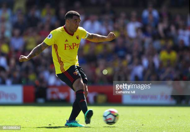 Troy Deeney of Watford takes a penalty and misses during the Premier League match between Watford and Newcastle United at Vicarage Road on May 5 2018...