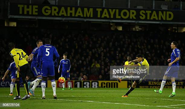 Troy Deeney of Watford takes a shot on goal during the Barclays Premier League match between Watford and Chelsea at Vicarage Road on February 3 2016...