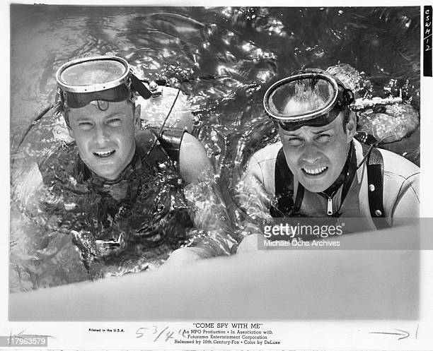 Troy Donahue with Mart Hulswit in a scene from the film 'Come Spy With Me' 1967