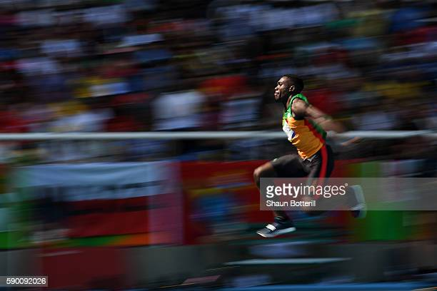 Troy Doris of Guyana competes during the Men's Triple Jump Final on Day 11 of the Rio 2016 Olympic Games at the Olympic Stadium on August 16 2016 in...