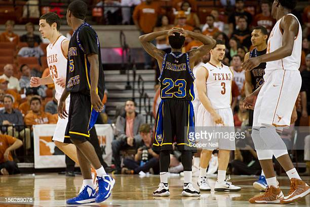 Troy Franklin of the Coppin State University Eagles puts his hands on his head after a poor offensive possession against the University of Texas...