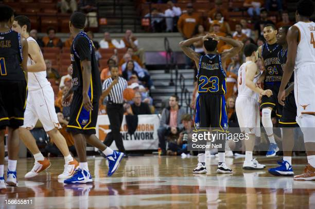 Troy Franklin of the Coppin State University Eagles reacts after a poor possession against the University of Texas Longhorns on November 12 2012 at...