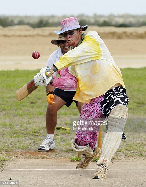 Troy Gallagher of the team 'Pellet Scones' hits out during the Goldfield Ashes January 26 2007 in Charters Towers Australia Every Australia Day...