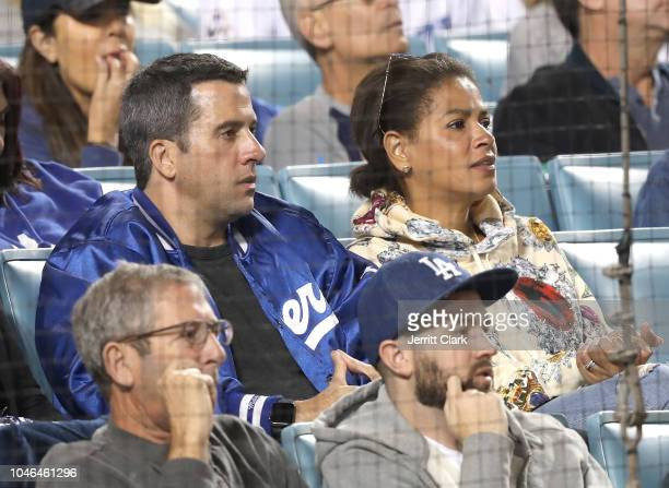 Troy Garity and Simone Bent attend The Los Angeles Dodgers Game Division Series Atlanta Braves v Los Angeles Dodgers Game Two at Dodger Stadium on...