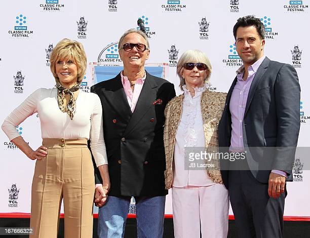 Troy Garity Jane Fonda Peter Fonda and Shirlee Mae Adams during actress Jane Fonda's Handprint/Footprint Ceremony during the 2013 TCM Classic Film...