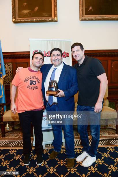 Troy Gentile and Doug Robinson pose with Producer Adam F Goldberg during an event honoring Goldberg at Philadelphia City Hall on September 15 2017 in...