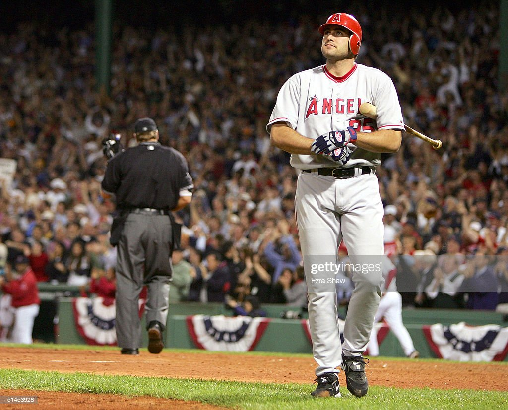 Troy Glaus #25 of the Anaheim Angels strikes out in the 9th inning against the Boston Red Sox during Game 3 of the American League Division Series October 8, 2004 at Fenway Park in Boston, Massachusetts.
