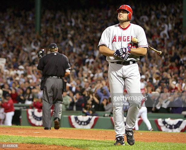Troy Glaus of the Anaheim Angels strikes out in the 9th inning against the Boston Red Sox during Game 3 of the American League Division Series...