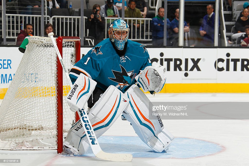 Troy Grosenick #1 of the San Jose Sharks defends the net against the Vancouver Canucks at SAP Center on September 27, 2016 in San Jose, California.