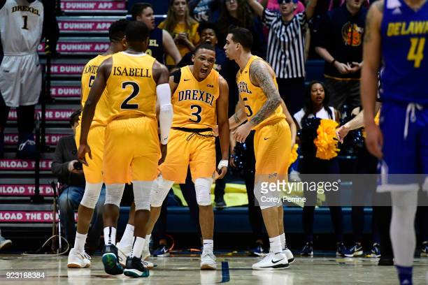 Troy Harper of the Drexel Dragons reacts to being fouled by the Delaware Fightin Blue Hens during the second half at the Daskalakis Athletic Center...