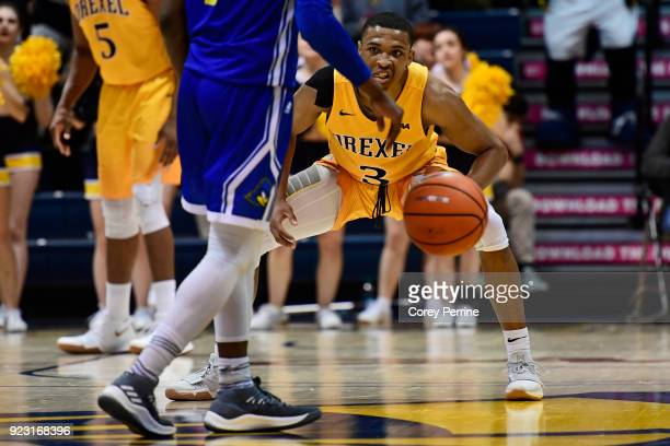 Troy Harper of the Drexel Dragons shows his game face against Ryan Allen of the Delaware Fightin Blue Hens during the second half at the Daskalakis...