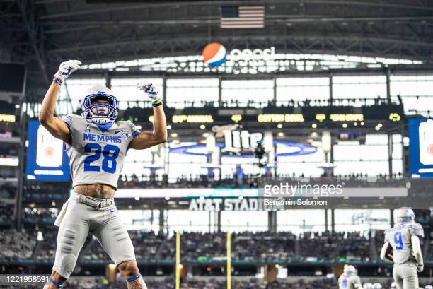 Troy Hurst of the Memphis Tigers reacts during the Goodyear Cotton Bowl Classic at ATT Stadium on December 28 2019 in Arlington Texas