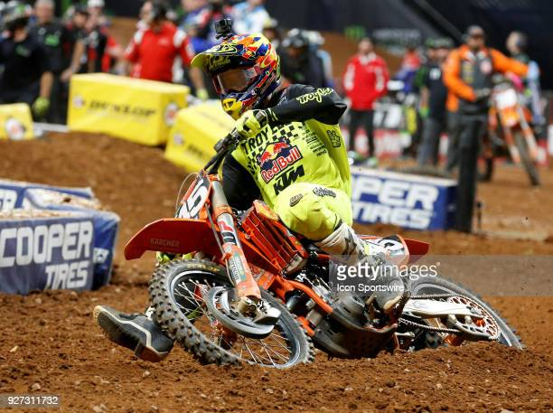 Troy Lee Designs/Red Bull KTM 250cc rider Jordon Smith rails the inside of a turn during the Monster Energy AMA Supercross race on March 03 2018 at...