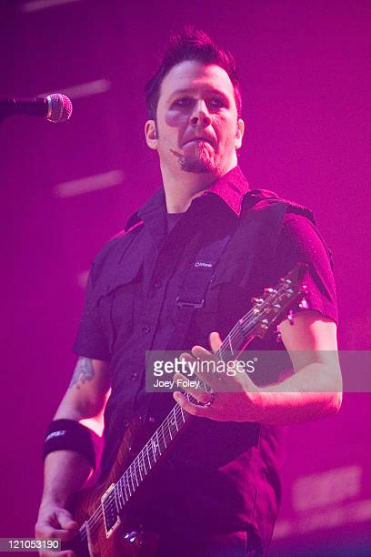 Troy McLawhorn of Seether performs live at the Pepsi Coliseum on March 5 2008 in Indianapolis Indiana