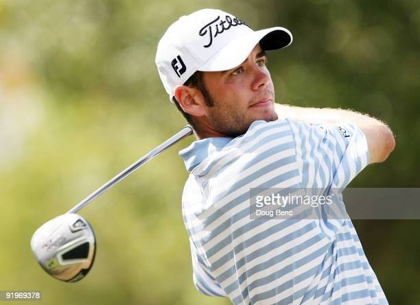 Troy Merritt hits a tee shot during the third round of the 2009 Nationwide Tour Miccosukee Championship at the Miccosukee Golf Country Club on...
