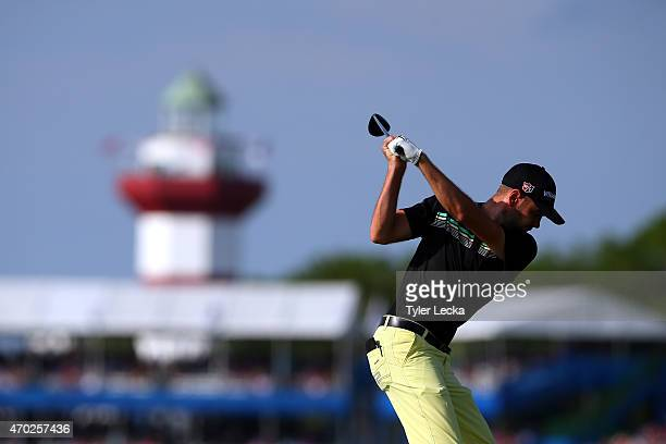 Troy Merritt hits his tee shot on the 18th hole during the third round of the RBC Heritage at Harbour Town Golf Links on April 18 2015 in Hilton Head...