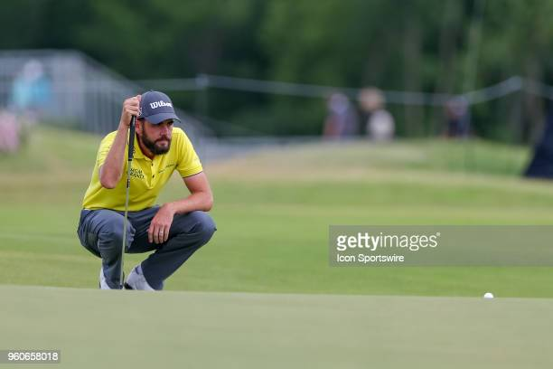 Troy Merritt lines up his putt on during the final round of the 50th annual ATT Byron Nelson on May 20 2018 at Trinity Forest Golf Club in Dallas TX