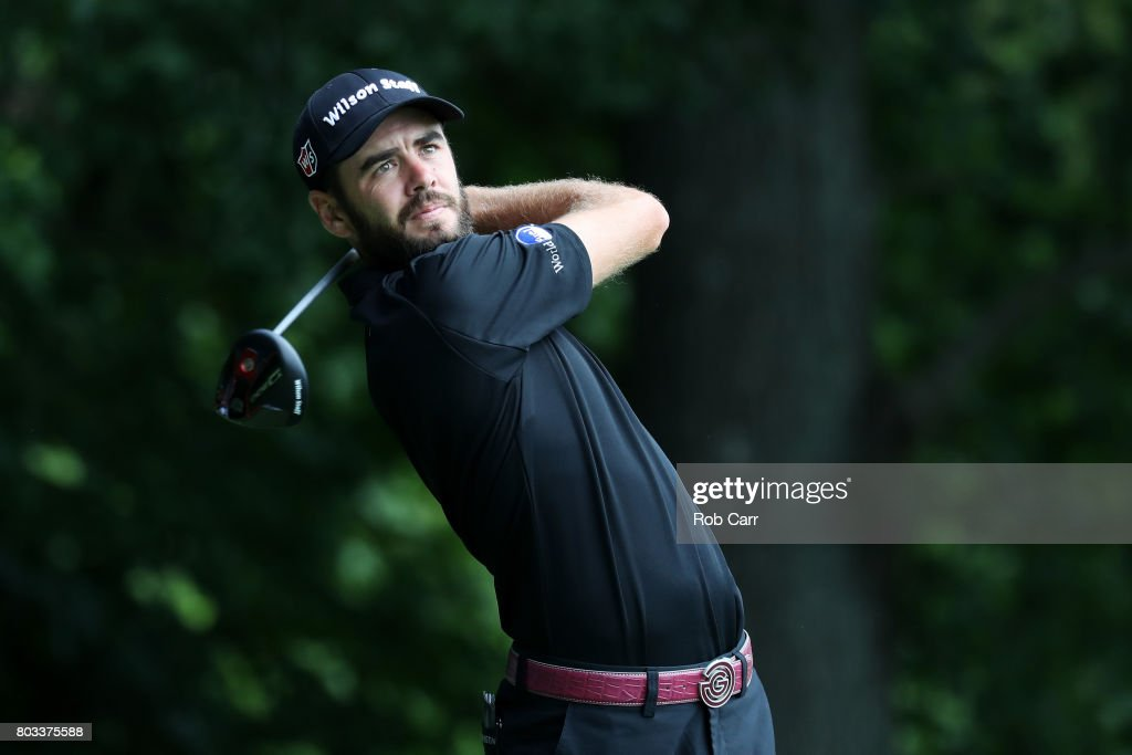 Troy Merritt of the United States plays his shot from the eighth tee during the first round of the Quicken Loans National on June 29, 2017 TPC Potomac in Potomac, Maryland.