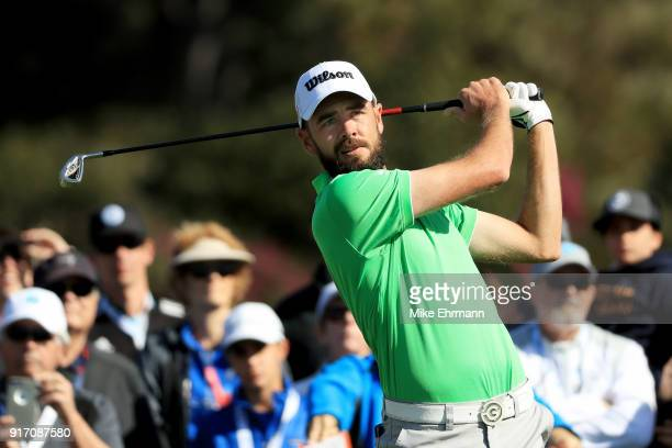 Troy Merritt plays his shot from the sixth tee during the Final Round of the ATT Pebble Beach ProAm at Pebble Beach Golf Links on February 11 2018 in...