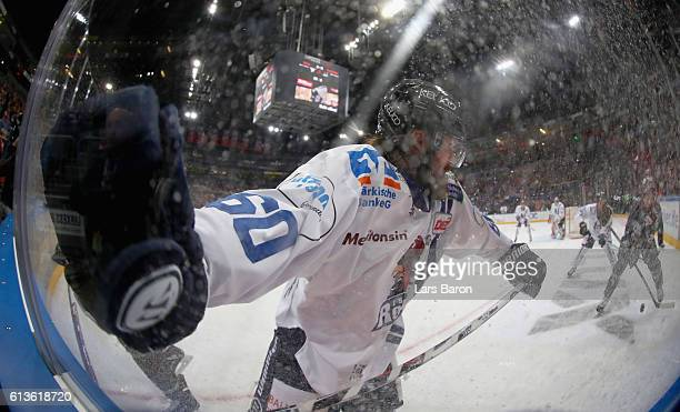 Troy Milam of Iserlohn in actionduring the DEL match between Koelner Haie and Iserlohn Roosters at Lanxess Arena on October 9 2016 in Cologne Germany