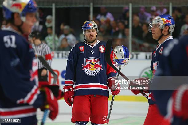 Troy Milam of Salzburg reacts during the Champions Hockey League PlayOff Round of 16 game between Red Bull Salzburg and Lulea Hockey at Eisarena...