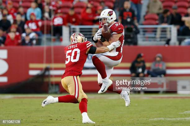 Troy Niklas of the Arizona Cardinals unable to make a catch against Brock Coyle of the San Francisco 49ers at Levi's Stadium on November 5, 2017 in...