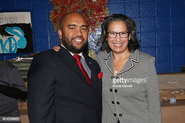 Troy Outlaw Jr and Elsie McCabe Thompson attend the Jean Shafiroff Jay Moorhead Underwrite Annual Community Thanksgiving Dinner at NYC Mission...