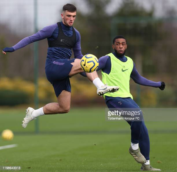 Troy Parrott and Japhet Tanganka of Tottenham Hotspur during the Tottenham Hotspur training session at Tottenham Hotspur Training Centre on January...