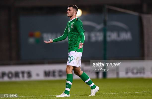 Troy Parrott of Republic of Ireland protests after receiving a red card during the UEFA U21 Championships Qualifier match between the Republic of...