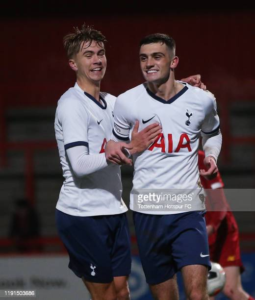 Troy Parrott of Tottenham Hotspur celebrates after scoring their second goal from the penalty spot during the FA Youth Cup match between Tottenham...