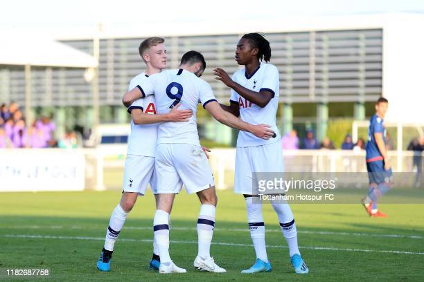 Troy Parrott of Tottenham Hotspur celebrates scoring his sides fifth goal during the UEFA Youth League match between Tottenham Hotspur and FK Crvena...
