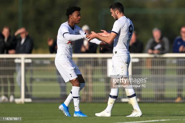 Troy Parrott of Tottenham Hotspur celebrates scoring his sides third goal during the UEFA Youth League match between Tottenham Hotspur and FK Crvena...