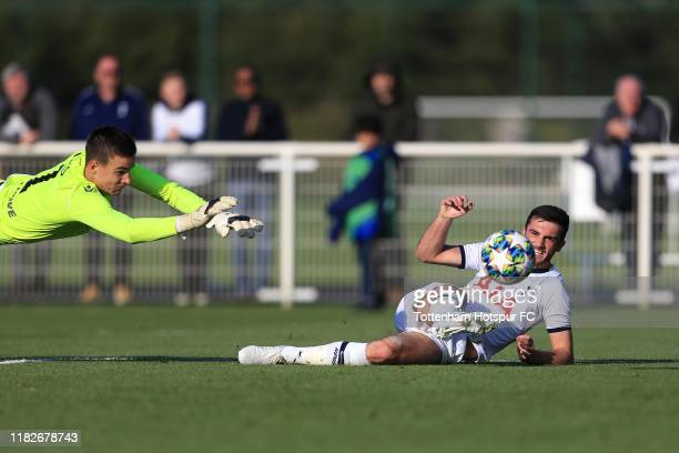 Troy Parrott of Tottenham Hotspur scores his sides third goal during the UEFA Youth League match between Tottenham Hotspur and FK Crvena zvezda on...
