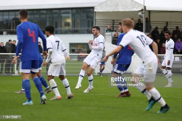 Troy Parrott of Tottenham Hotspur scores the opening goal during the UEFA Youth League group B match between Tottenham Hotspur and Olympiacos FC at...