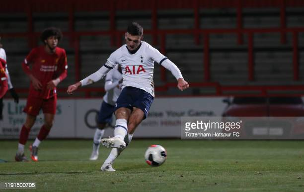 Troy Parrott of Tottenham Hotspur scorfes their first goal from the penalty spot during the FA Youth Cup match between Tottenham Hotspur and...
