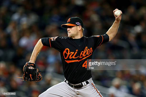 Troy Patton of the Baltimore Orioles pitches against the New York Yankees during Game Five of the American League Division Series at Yankee Stadium...