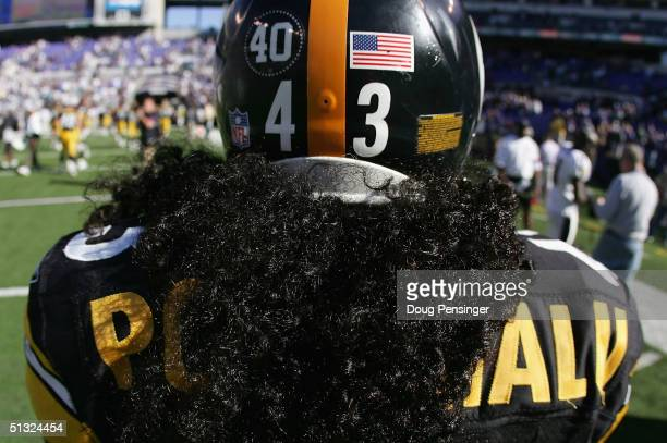 Troy Polamalu of the Pittsburgh Steelers and all the NFL players helmets were adorned with in memory of Pat Tillman as the Ravens defeated the...