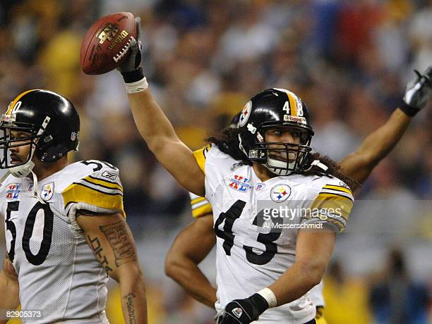 Troy Polamalu of the Pittsburgh Steelers celebrates during Super Bowl XL between the Pittsburgh Steelers and Seattle Seahawks at Ford Field in...