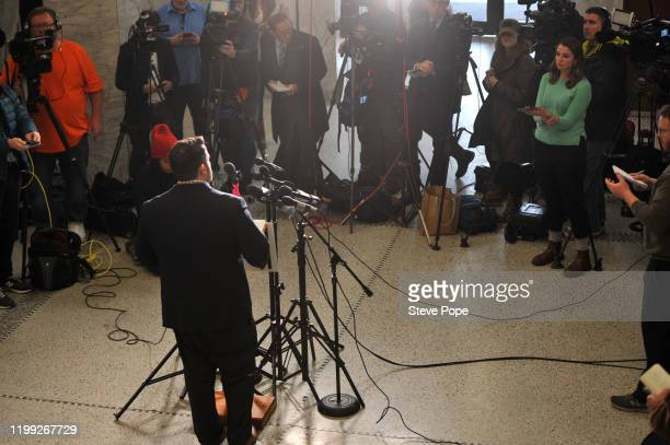 Troy Price Chairman of the Iowa Democratic Party addresses the media about the aftermath of the Iowa caucuses on February 7 2020 in Des Moines Iowa...