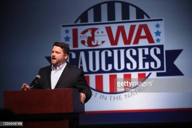 Troy Price, Chairman of the Iowa Democratic Party, addresses the media about the delayed results from last night's Iowa caucus at the Iowa Events...