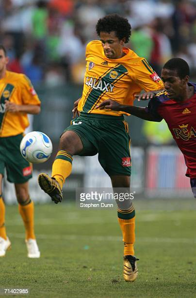 Troy Roberts of the Los Angeles Galaxy controls the ball against Real Salt Lake on July 8, 2006 at the Home Depot Center in Carson, California. The...