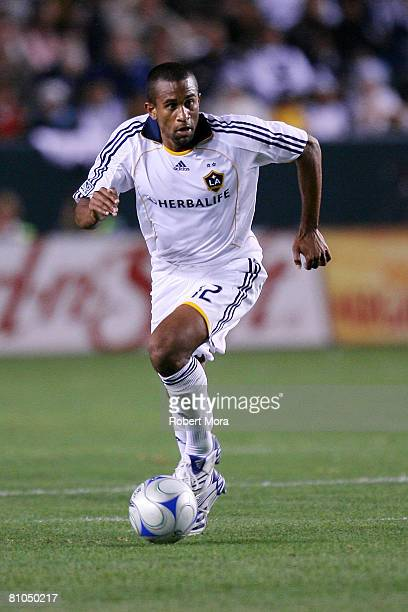 Troy Roberts of the Los Angeles Galaxy runs the ball during their MLS game against the New York Red Bulls at Home Depot Center on May 10, 2008 in...