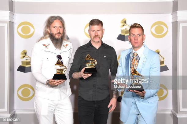 Troy Sanders Bill Kelliher and Brann Dailor of 'Mastodon' winners of Best Metal Performance for 'Sultan's Curse' pose in the press room during the...